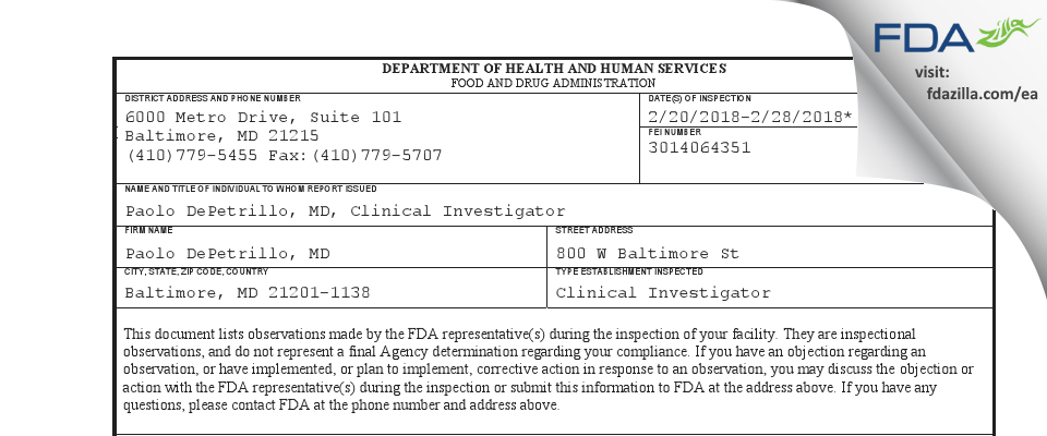 Paolo DePetrillo, MD FDA inspection 483 Feb 2018
