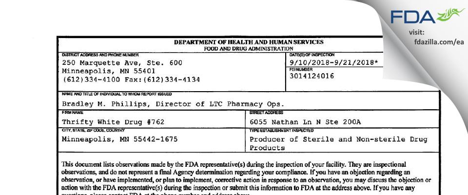 Thrifty White Drug #762 FDA inspection 483 Sep 2018