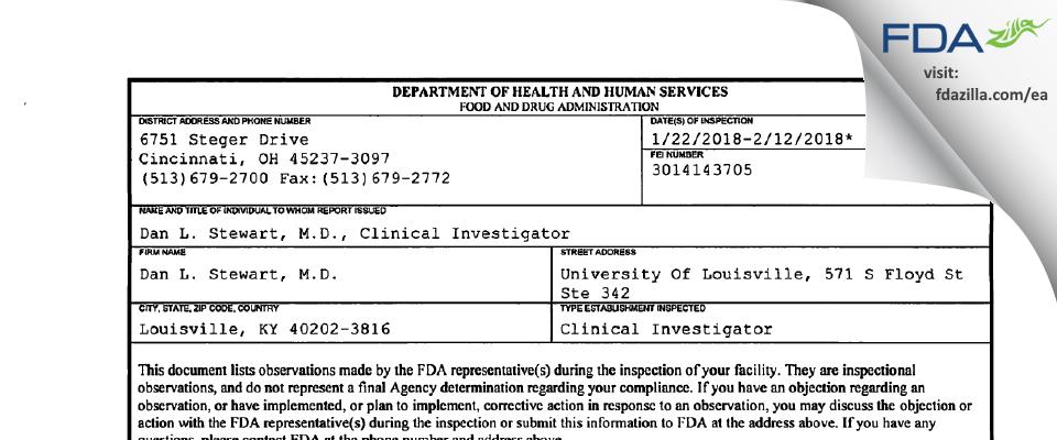 Dan L. Stewart, M.D. FDA inspection 483 Feb 2018
