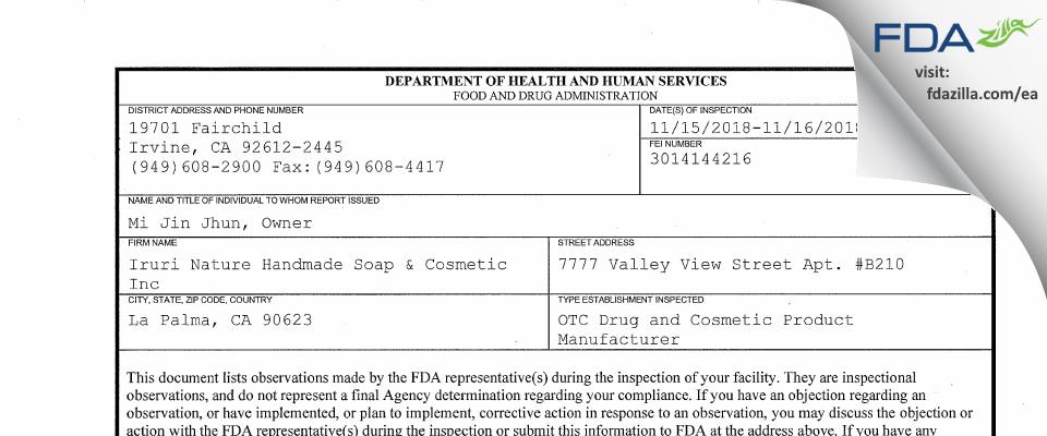 Iruri Nature Handmade Soap & Cosmetic FDA inspection 483 Nov 2018