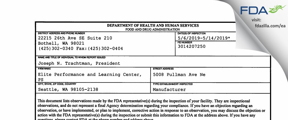 Elite Performance and Learning Center, PS FDA inspection 483 May 2019