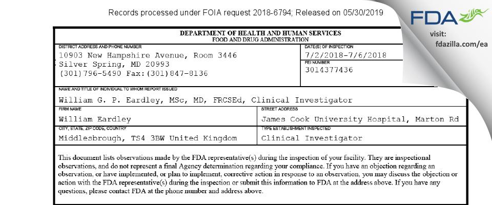William G. P. Eardley, MSc, MD FDA inspection 483 Jul 2018