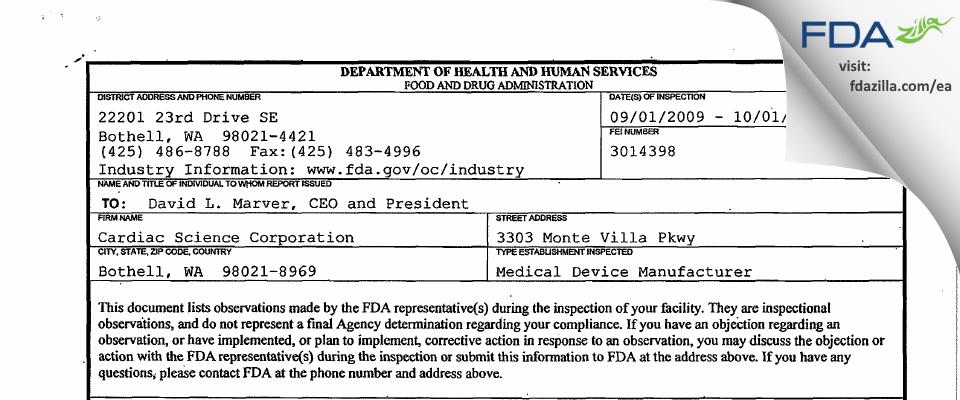 Cardiac Science FDA inspection 483 Oct 2009