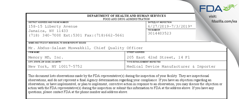 Memory MD FDA inspection 483 Jul 2019