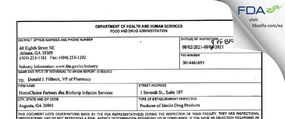 HomeChoice Partners dba BioScript Infusion Services FDA inspection 483 Aug 2021