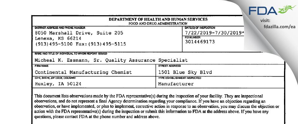 Continental Manufacturing Chemist FDA inspection 483 Jul 2019
