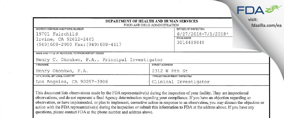 Henry Okonkwo, P.A. FDA inspection 483 Jul 2018