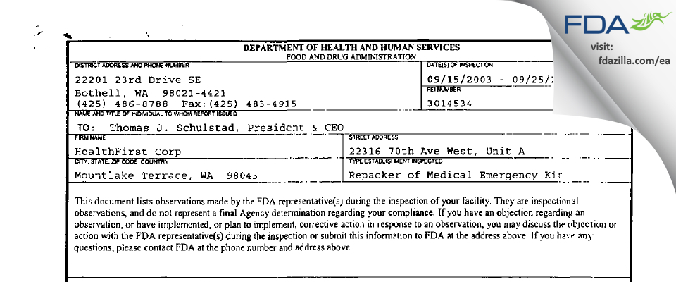 HF Acquisition FDA inspection 483 Sep 2003