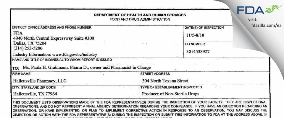 Hallettsville Pharmacy FDA inspection 483 Nov 2018