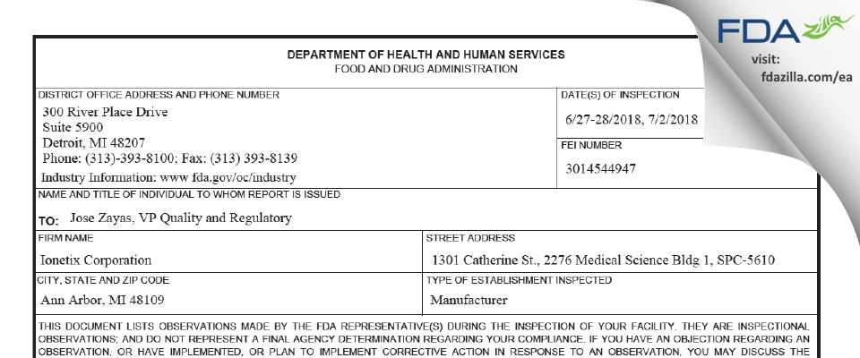 Ionetix FDA inspection 483 Jul 2018
