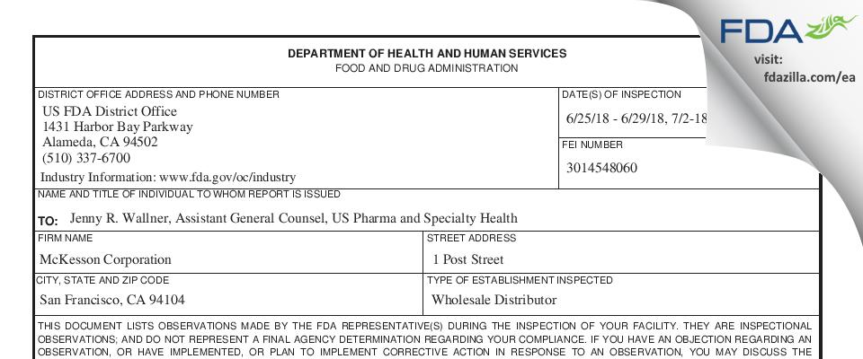 McKesson Headquarters FDA inspection 483 Jul 2018