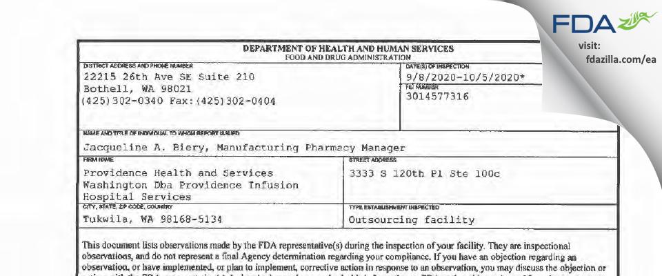 Providence Health and Services Washington Dba Providence Inf FDA inspection 483 Oct 2020
