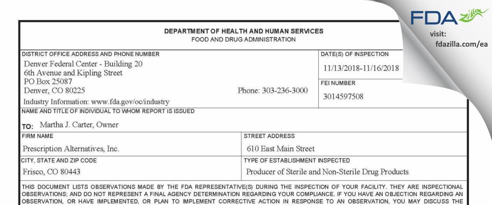 Prescription Alternatives FDA inspection 483 Nov 2018