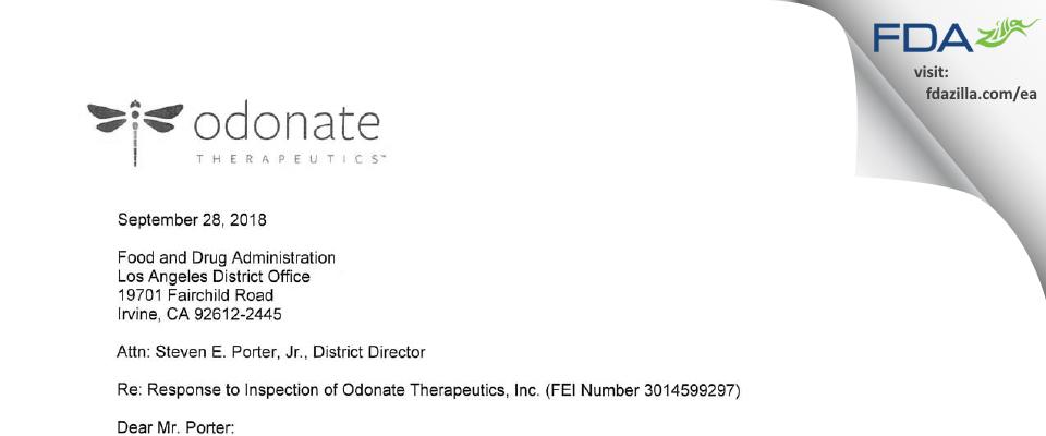Odonate Therapeutics FDA inspection 483 Sep 2018