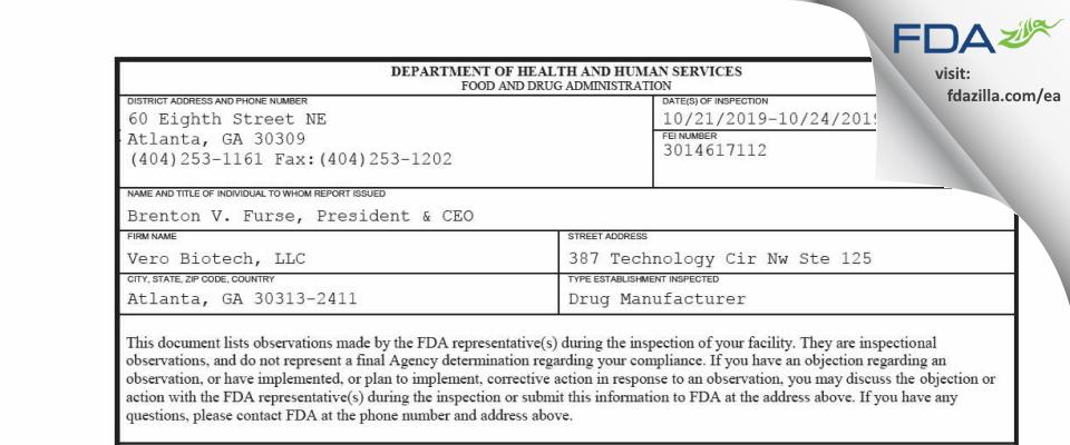 Vero Biotech FDA inspection 483 Oct 2019