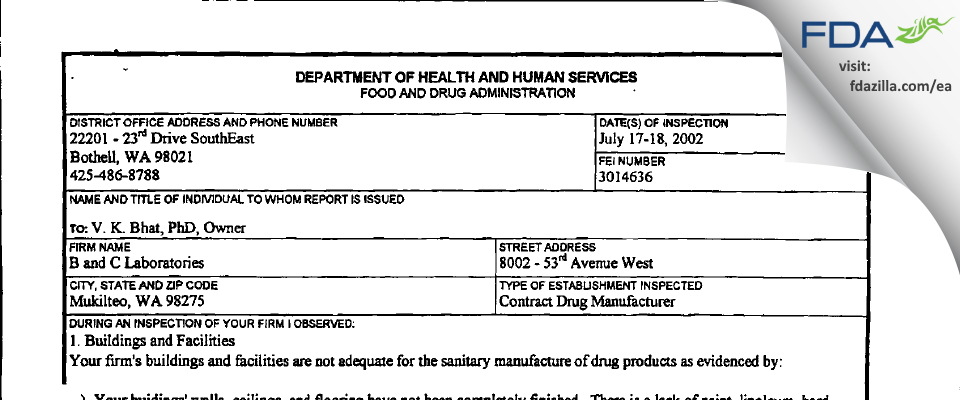 B & C Labs FDA inspection 483 Jul 2002