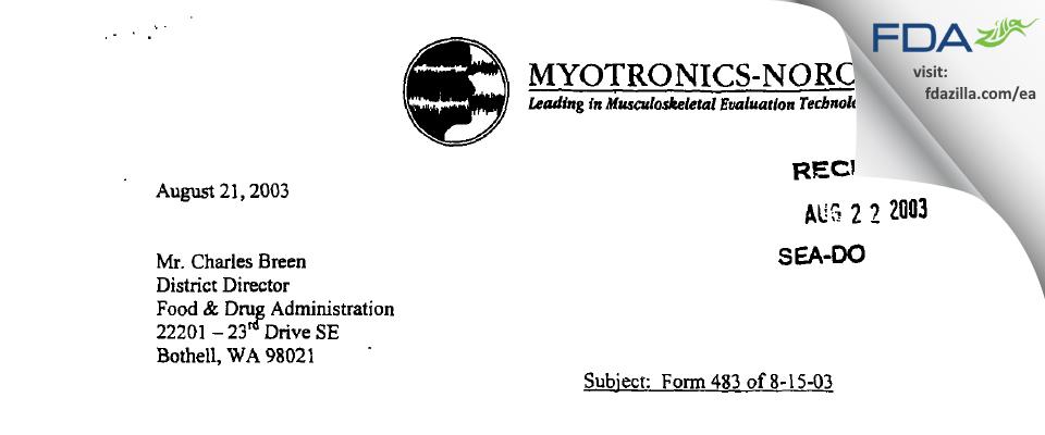 Myotronics-Noromed FDA inspection 483 Aug 2003
