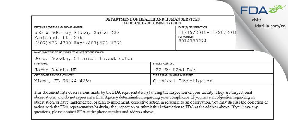 Jorge Acosta MD FDA inspection 483 Nov 2018