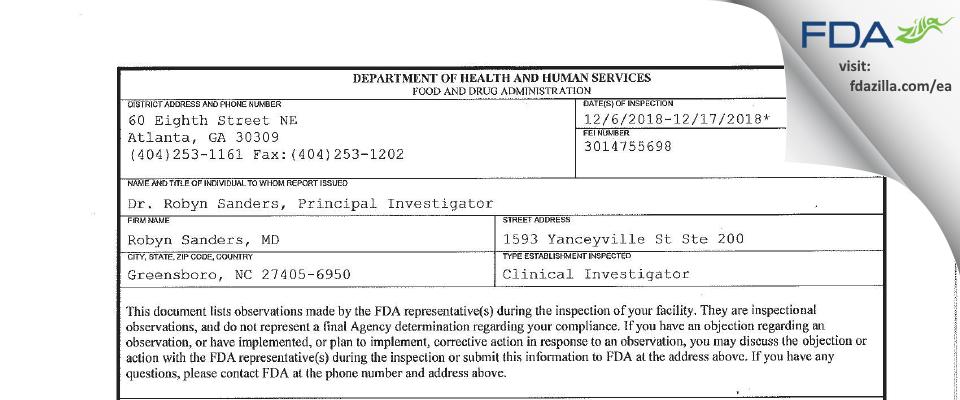 Robyn Sanders, MD FDA inspection 483 Dec 2018
