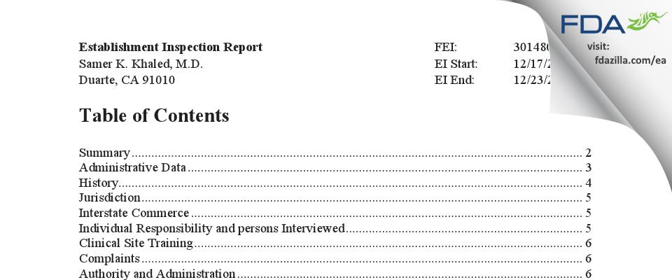 Samer K. Khaled, M.D. FDA inspection 483 Dec 2020