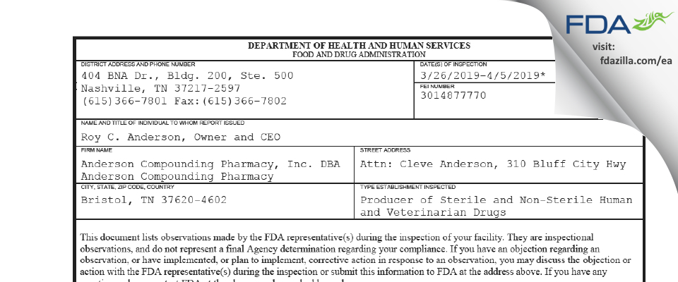 Anderson Compounding Pharmacy DBA Anderson Compounding FDA inspection 483 Apr 2019