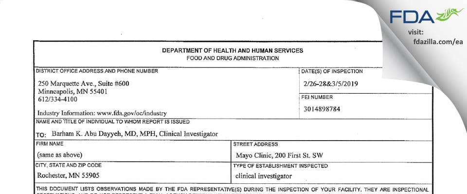 Abu Dayyeh, Barham, K., MD, MPH, Clinical Investigator FDA inspection 483 Mar 2019