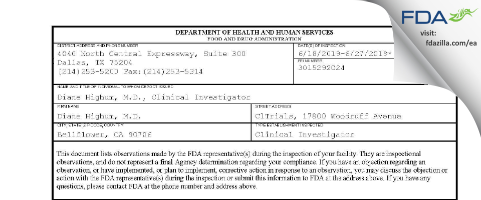 Diane Highum, M.D. FDA inspection 483 Jun 2019