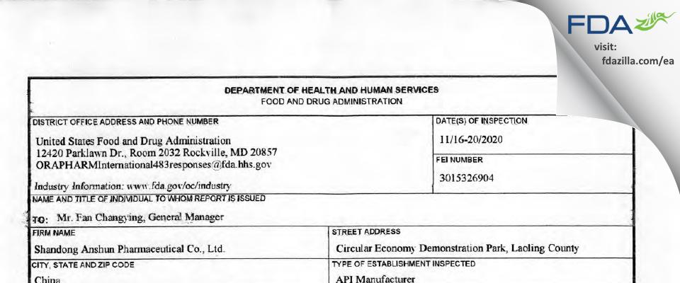 Shandong Anshun Pharmaceutical FDA inspection 483 Nov 2020