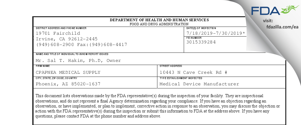 CPAPNEA MEDICAL SUPPLY FDA inspection 483 Jul 2019