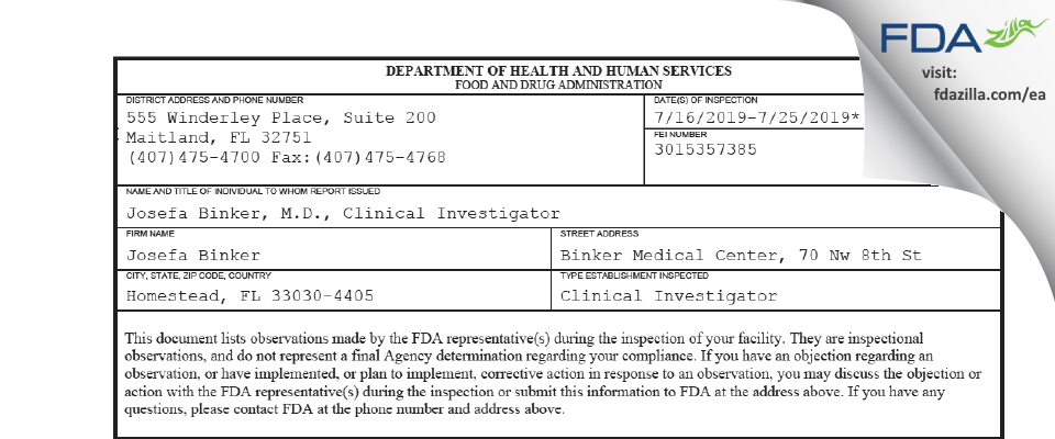 Josefa Binker, M.D. FDA inspection 483 Jul 2019