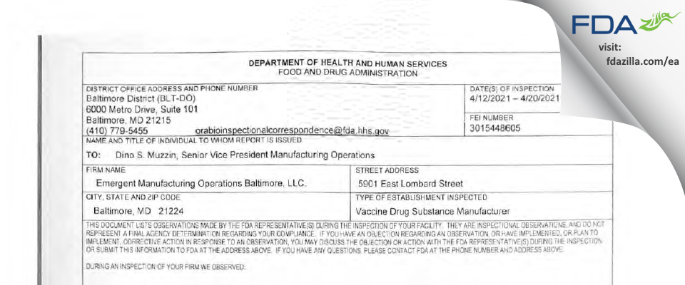 EMERGENT MANUFACTURING OPERATIONS BALTIMORE. FDA inspection 483 Apr 2021