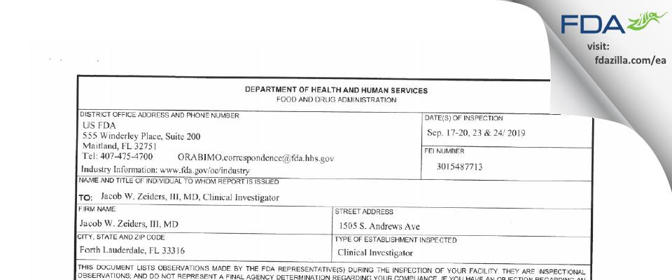 Jacob W. Zeiders III, M.D. FDA inspection 483 Sep 2019