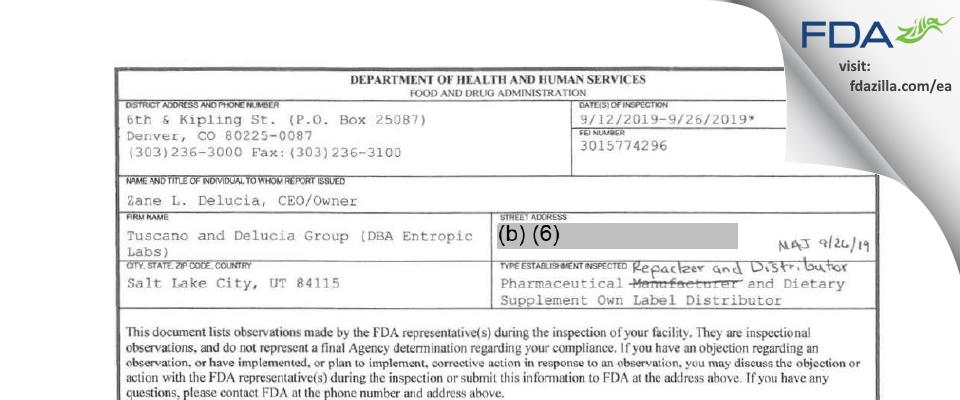 Tuscano and Delucia Group (DBA Entropic Labs) FDA inspection 483 Sep 2019