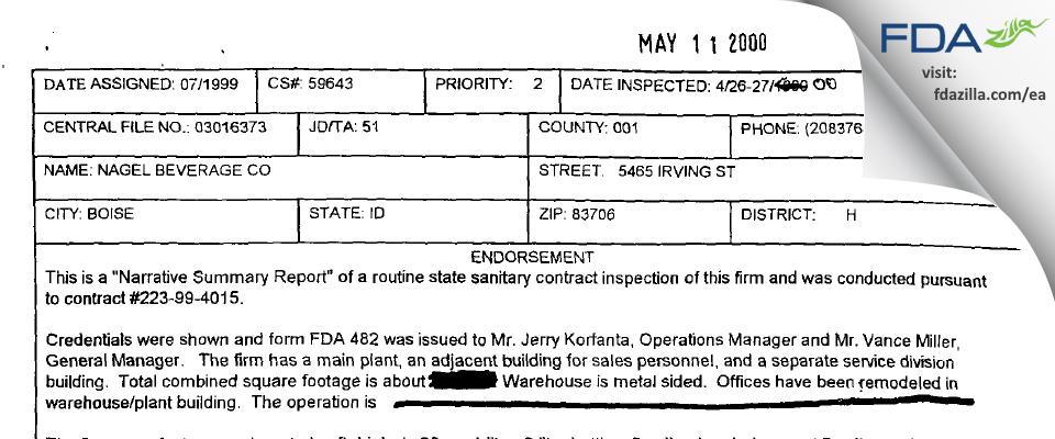 Nagel Beverage Co FDA inspection 483 Apr 2000