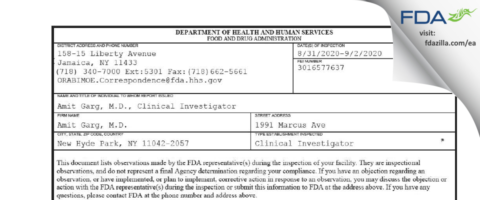 Amit Garg, M.D. FDA inspection 483 Sep 2020