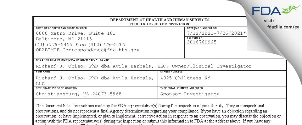 Richard J. Obiso, PhD dba Avila Herbals FDA inspection 483 Jul 2021