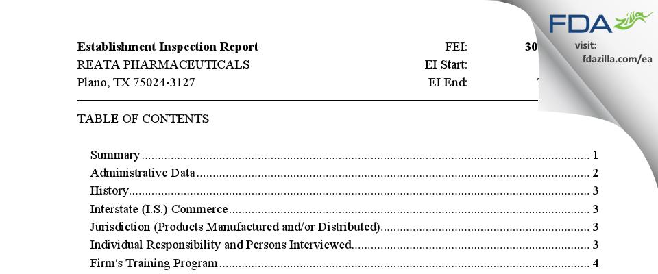 REATA PHARMACEUTICALS FDA inspection 483 Jul 2021