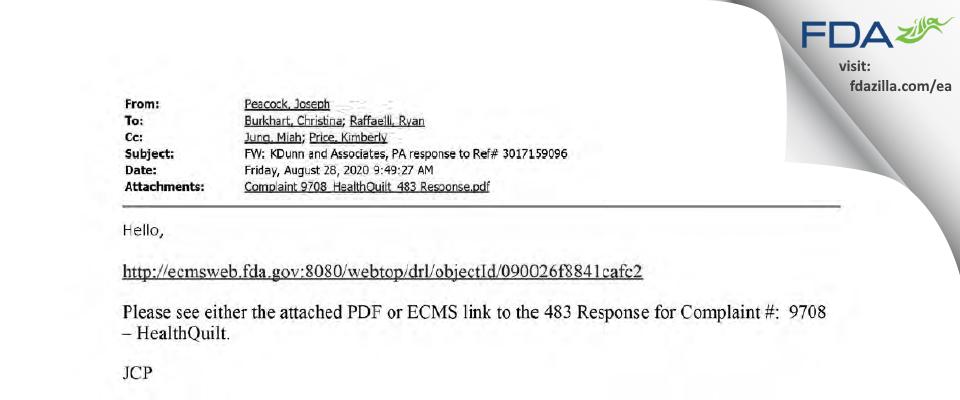 KDunn and Associates, P.A. dba HealthQuilt FDA inspection 483 Aug 2020