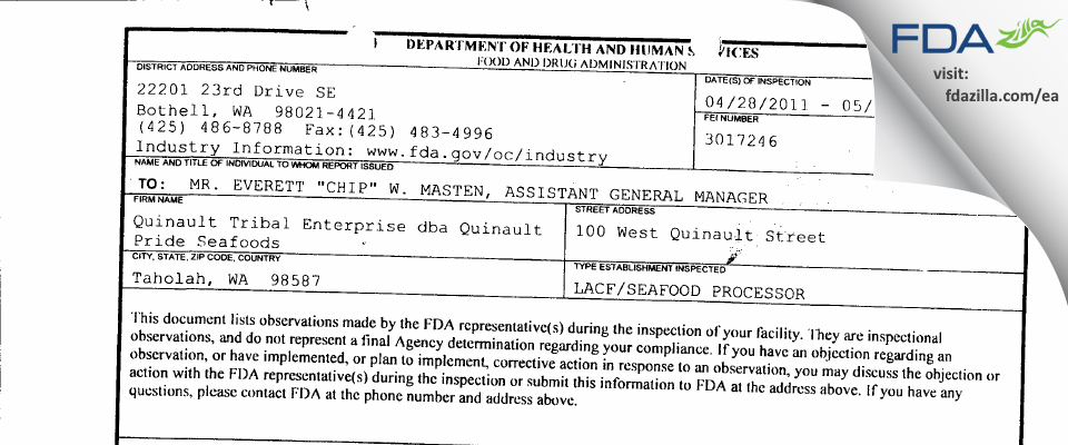 Quinault Pride Seafood FDA inspection 483 May 2011