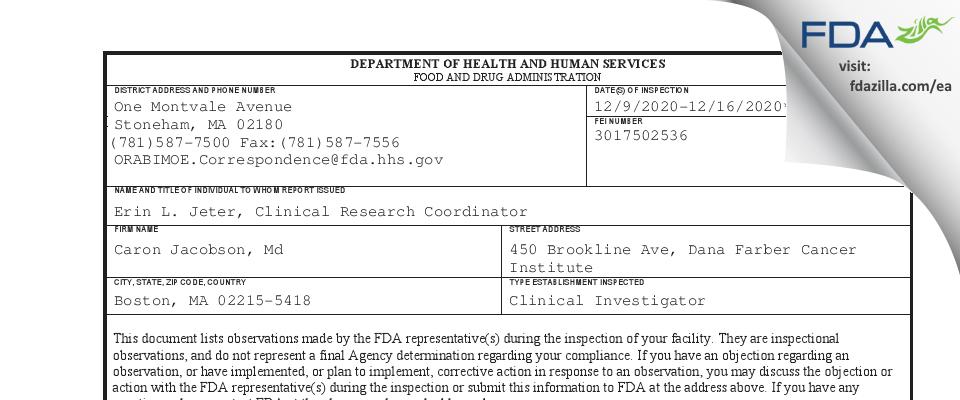 Caron Jacobson, Md FDA inspection 483 Dec 2020