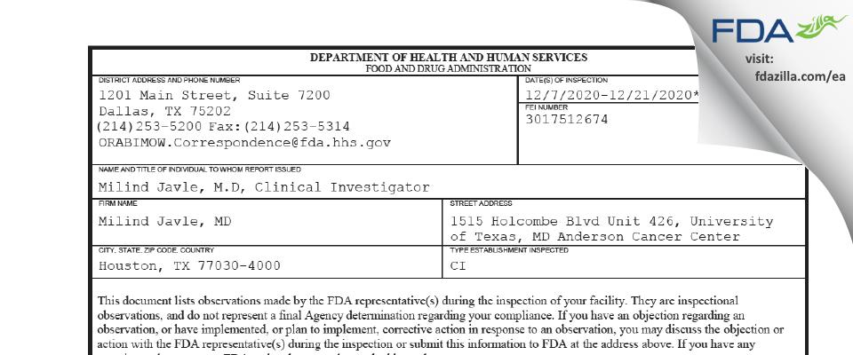 Milind Javle, MD FDA inspection 483 Dec 2020