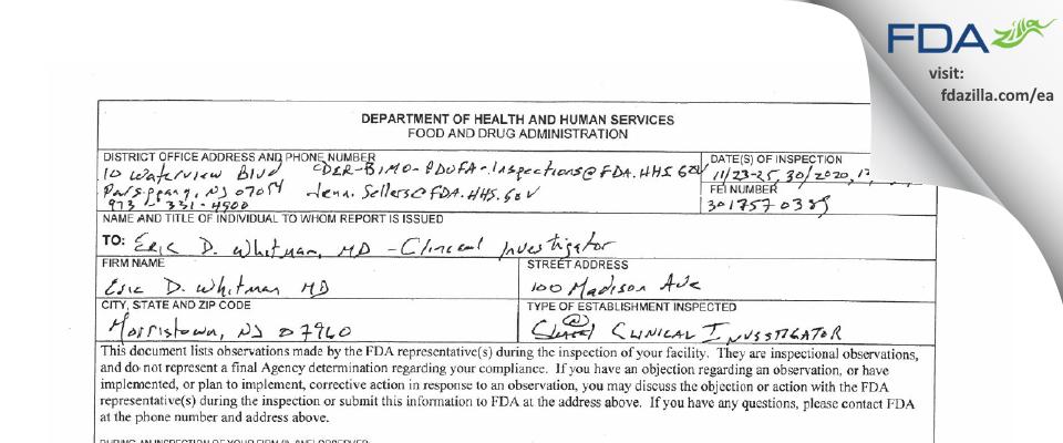 Eric D Whitman, MD FDA inspection 483 Dec 2020