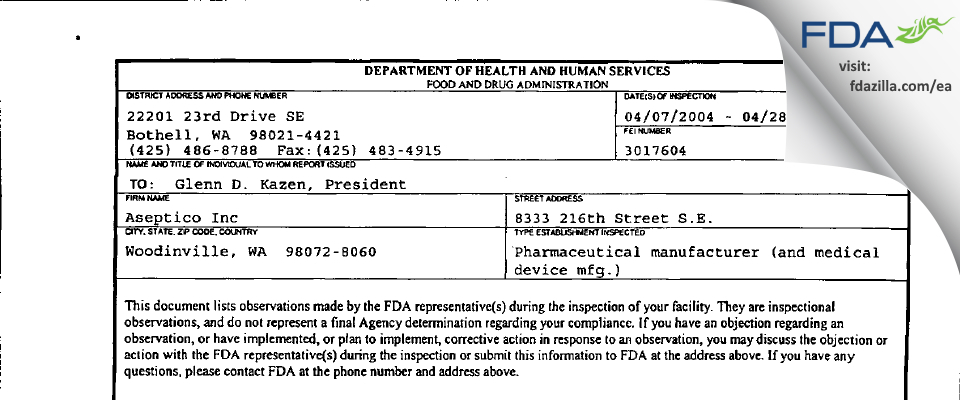 Aseptico FDA inspection 483 Apr 2004