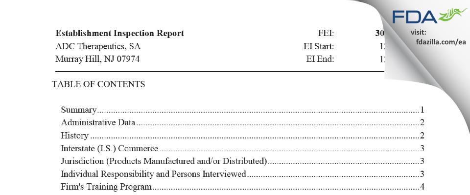 ADC Therapeutics, SA FDA inspection 483 Dec 2020