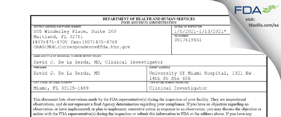 David J. De La Zerda, MD FDA inspection 483 Jan 2021