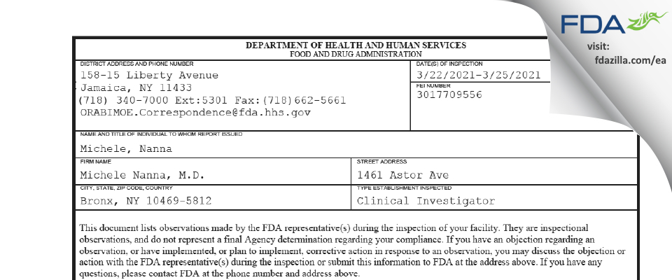 Michele Nanna, M.D. FDA inspection 483 Mar 2021