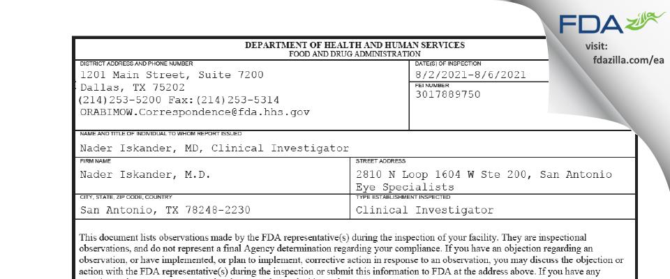 Nader Iskander, M.D. FDA inspection 483 Aug 2021