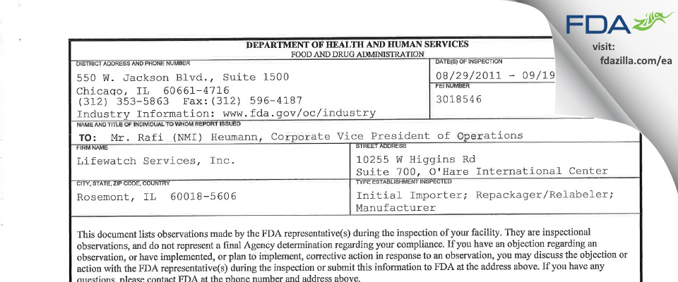 Lifewatch Services FDA inspection 483 Sep 2011
