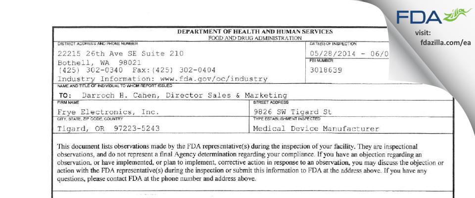 Frye Electronics FDA inspection 483 Jun 2014