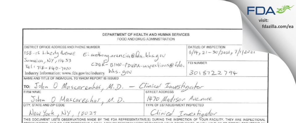 John Mascarenhas, M.D. FDA inspection 483 Jul 2021
